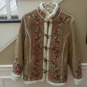 St John's Bay floral suede coat, XL
